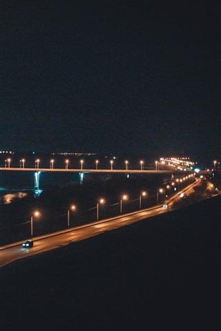 iPhone Wallpaper Russia, Kaluga, bridge, river, night, lights