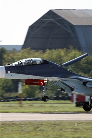 iPhone Wallpaper Russian multipurpose fighter, Su-30 landing
