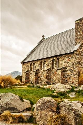 iPhone Wallpaper Scotland, church, stones house, lake, mountains, road