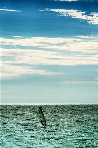 iPhone Wallpaper Sea, clouds, sky, horizon, windsurfing