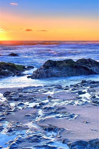 iPhone Wallpaper Sea, coast, rocks, waves, sunrise, dawn