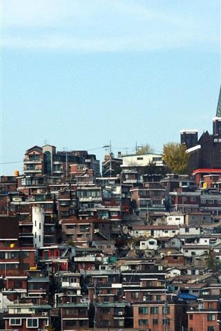 iPhone Wallpaper Seoul Yongsan District, Korea, houses