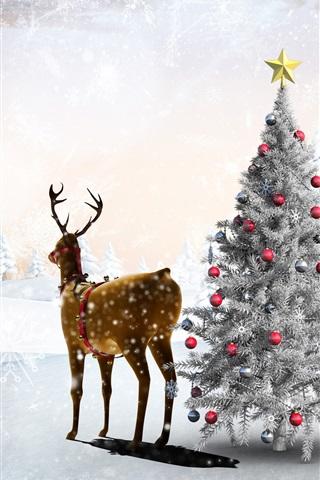 iPhone Papéis de Parede Neve, inverno, veado, natal, árvore, bolas, floresta, flocos de neve, arte, quadro