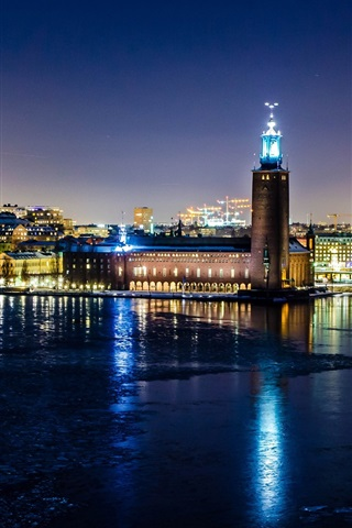 iPhone Wallpaper Stockholm, Sweden, city night, lights, houses, river, water reflection, winter