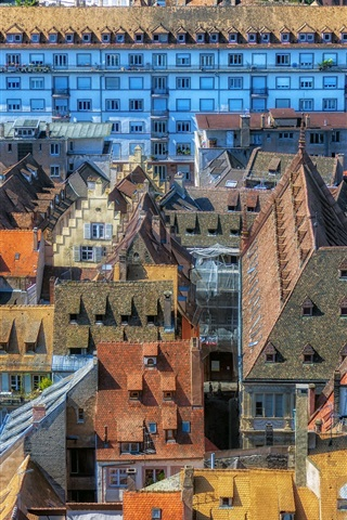 iPhone Wallpaper Strasbourg, France, houses, roof