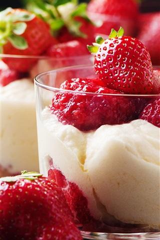 iPhone Wallpaper Strawberry, ice cream, mint, dessert
