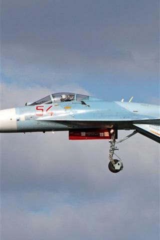 iPhone Wallpaper Su-27 multipurpose fighter, flight