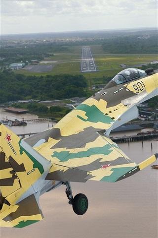 iPhone Wallpaper Su-35 fighter flight, camouflage, sky, airport