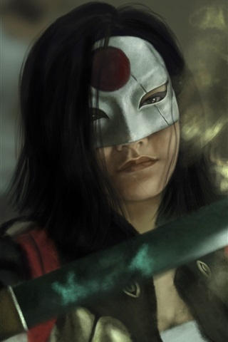 iPhone Hintergrundbilder Suicide Squad, Mädchen, Katana, Schwert, Maske, Kunst-Bild