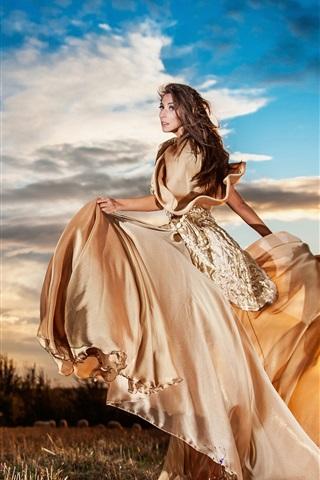 iPhone Wallpaper Sunset, girl beautiful skirt, clouds