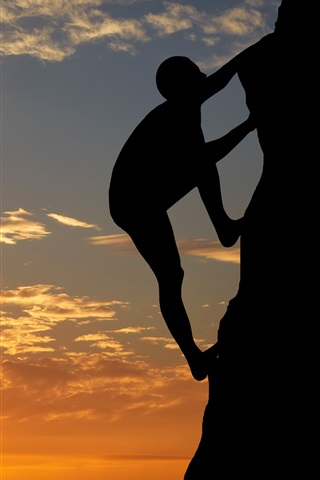 iPhone Wallpaper Sunset, mountaineering, person, mountain, silhouette