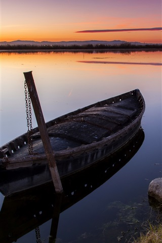 iPhone Wallpaper Sunset, river, boat, grass, mountains