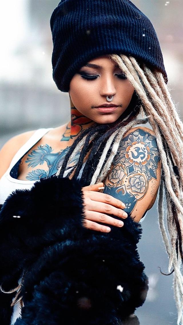 Wallpaper Tattoo Girl Hat Braids Snow 1920x1200 Hd
