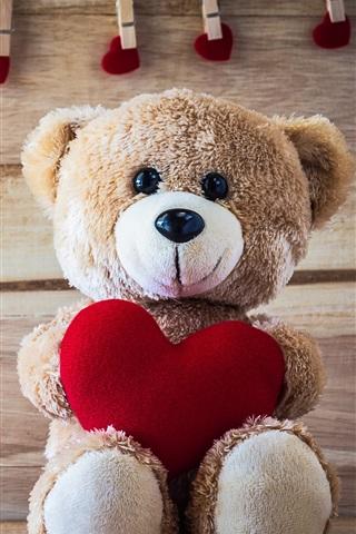 iPhone Wallpaper Teddy bear, love hearts, romantic, clothespin