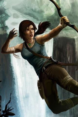 iPhone Wallpaper Tomb Raider, Lara Croft and wolves, bow