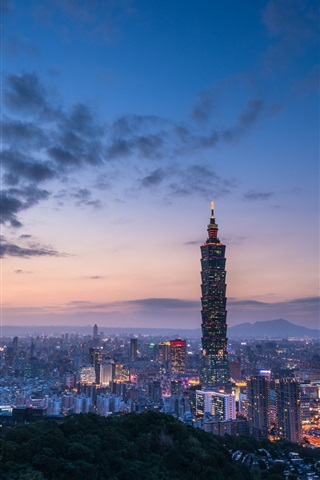 iPhone Wallpaper Travel to Taipei, Taiwan, evening, skyscrapers, lights, clouds