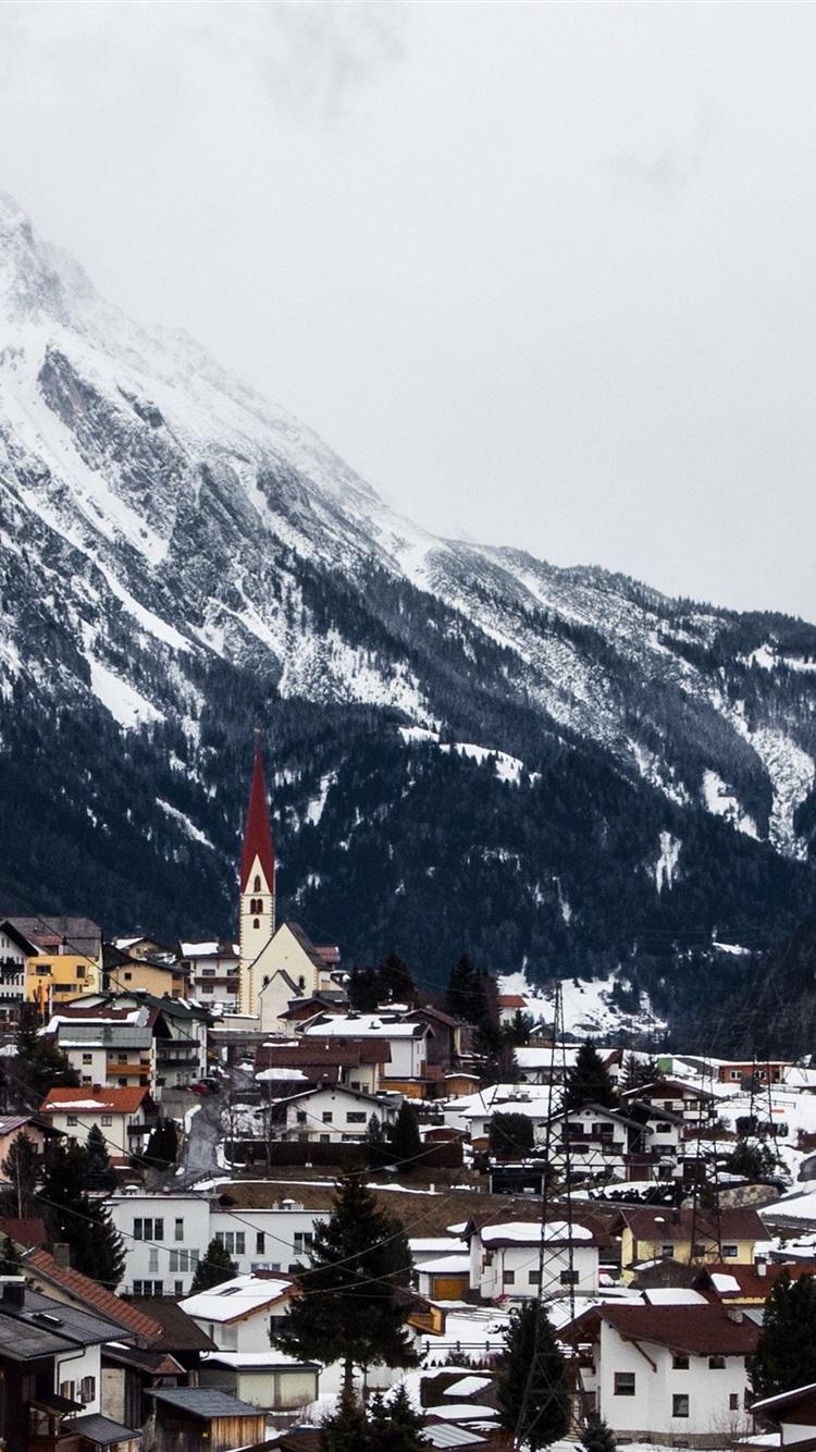 Tyrol Austria Arlberg Village Mountains Winter Snow