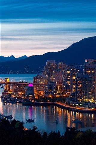 iPhone Wallpaper Vancouver, Canada, evening, city, lights, bridge, mountains, buildings
