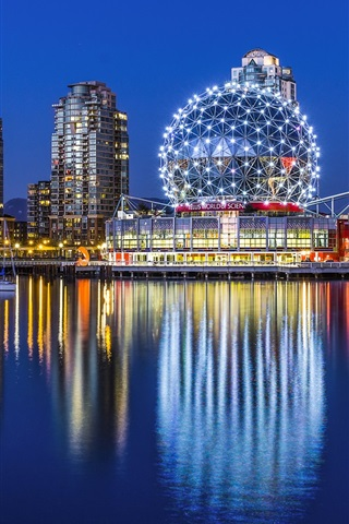 iPhone Wallpaper Vancouver, Yaletown, Canada, city night, museum, buildings, lights, water