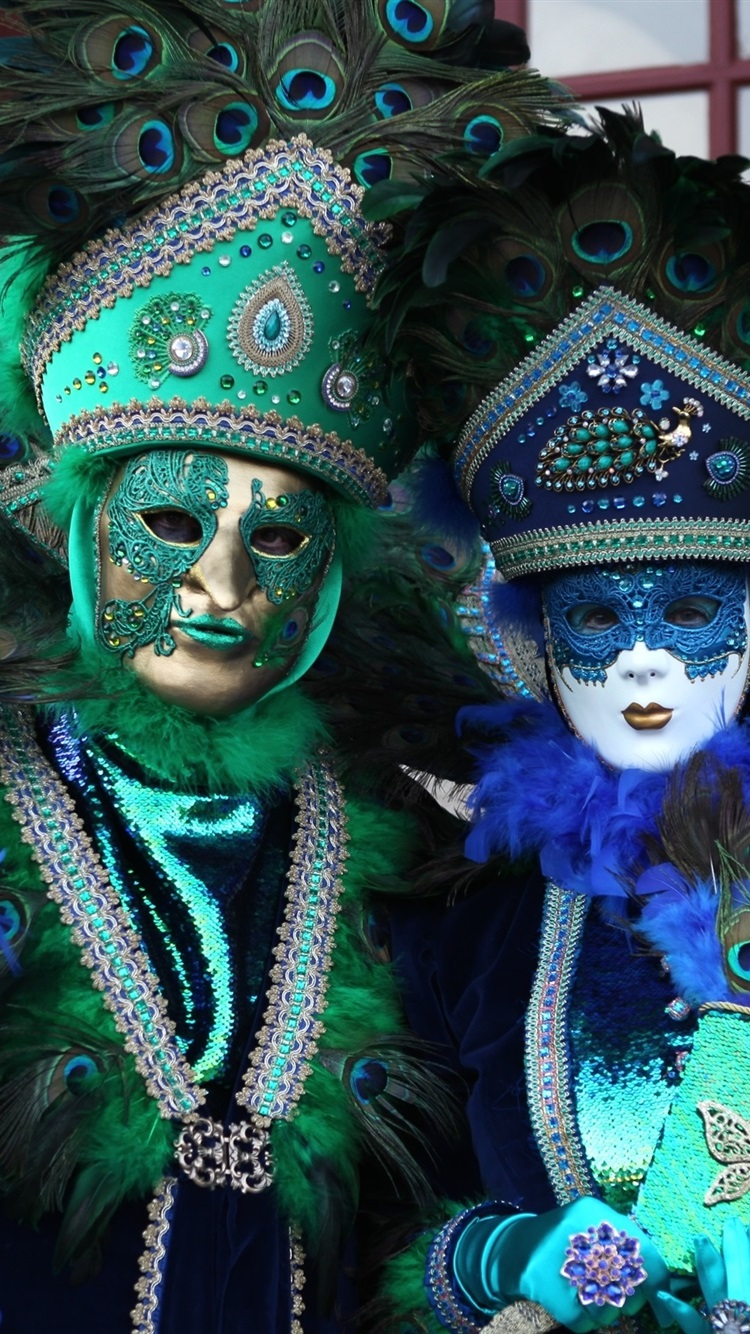 Venice Culture Carnival Peacock Feathers Mask People 750x1334