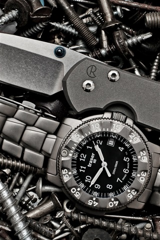 iPhone Wallpaper Watch, knife, screws
