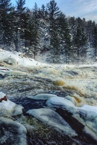 iPhone Wallpaper Winter, snow, river, trees, bridge