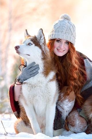 iPhone Wallpaper Winter, snow, smile girl, husky dogs