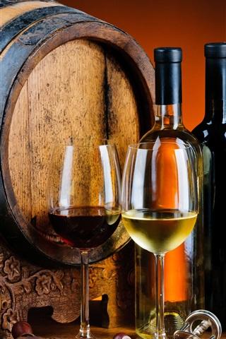 iPhone Wallpaper Wood barrel, wine, beer, bottles, glass cups, drinks