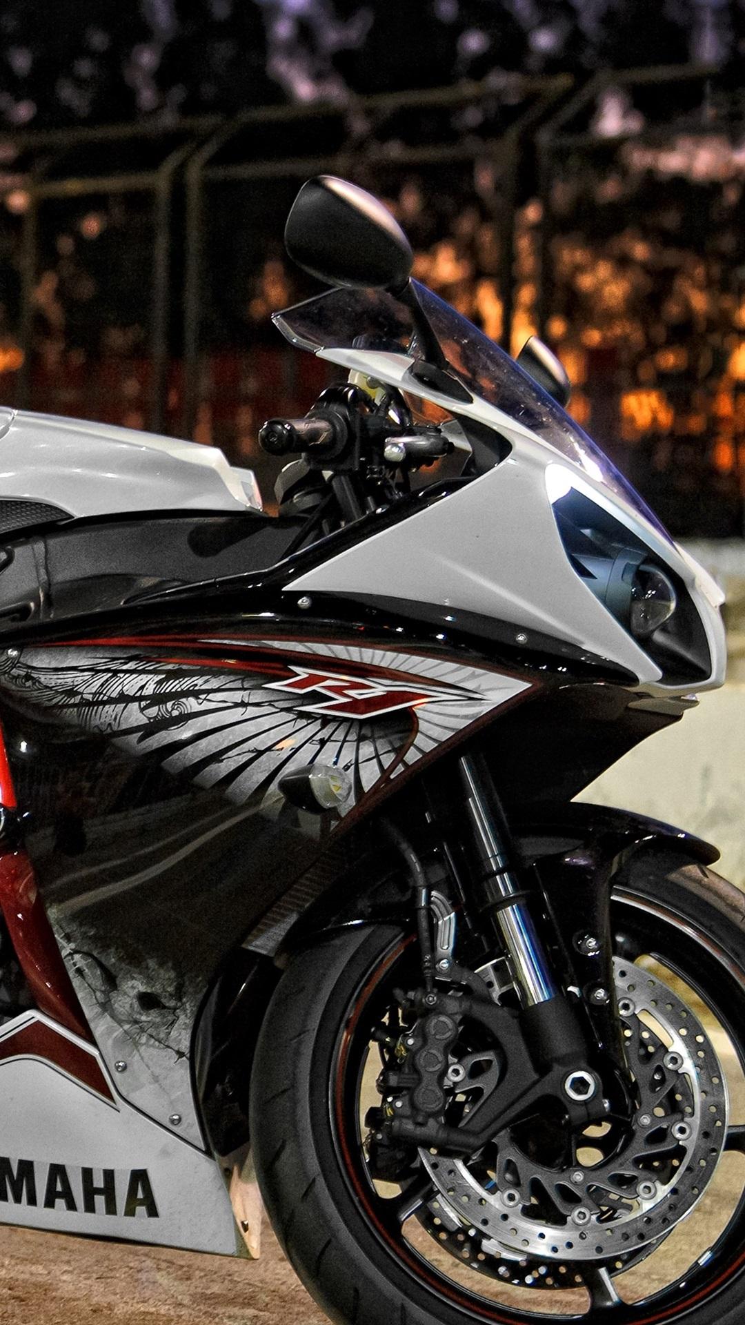Yamaha Motorcycle At Night City Street 1080x1920 Iphone 8 7