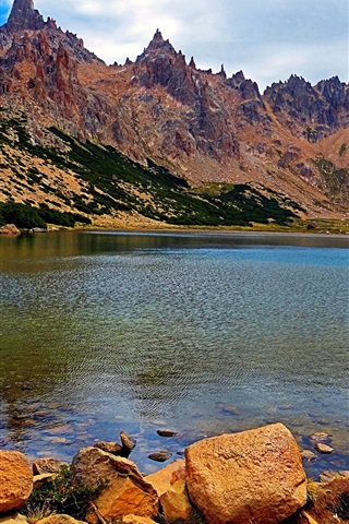 iPhone Wallpaper Argentina, Patagonia, rock mountains, lake