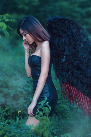 iPhone Wallpaper Asian angel girl, black wings, nature