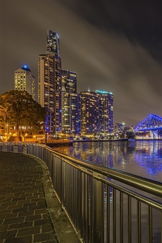 iPhone Wallpaper Australia, Brisbane, night, city, bridge, river, lights
