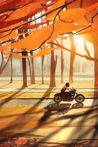 iPhone Wallpaper Autumn, trees, forest, motorcycle, leaves, road, sun rays, art drawing