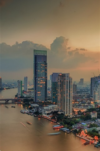 iPhone Wallpaper Bangkok city night view, river, skyscrapers, lights, Thailand