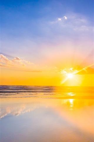 iPhone Wallpaper Beautiful sunset, sea, water, mirror, reflection, sky, clouds, sun rays