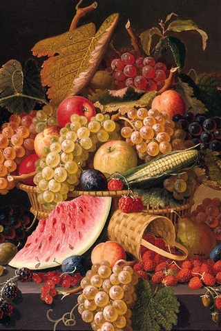 iPhone Wallpaper Berries, grapes, apples, watermelon, Paul Lacroix painting