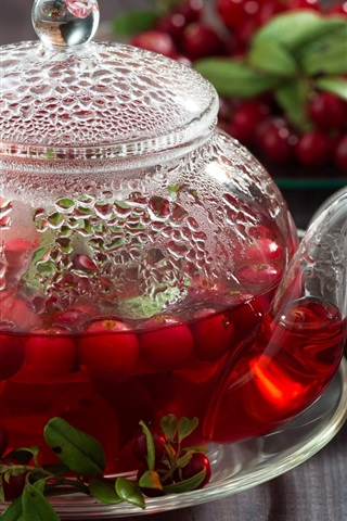 iPhone Wallpaper Berries tea, cranberries, teapot, drinks