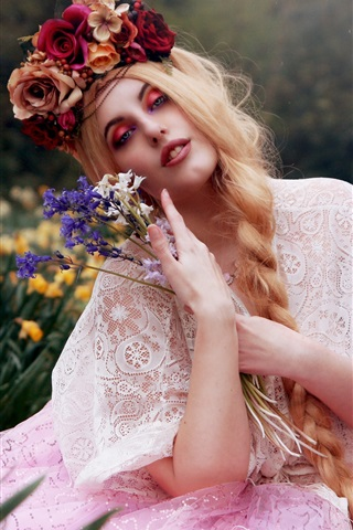 iPhone Wallpaper Blonde girl, flowers, makeup, art photography
