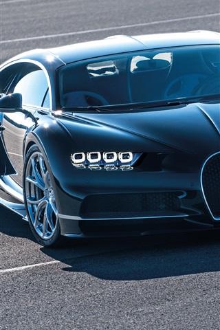 iPhone Wallpaper Bugatti Chiron 2016 blue supercar