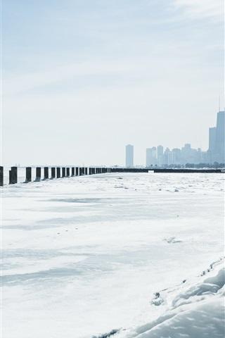 iPhone Papéis de Parede Chicago, Michigan, Inverno, neve, arranha-céus, EUA