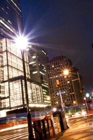 iPhone Wallpaper City street, night, lights, buildings, Philadelphia, USA
