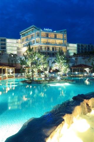iPhone Wallpaper Croatia, resort, hotel, lights, pool, night