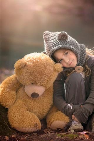 iPhone Papéis de Parede Bonito, menina, pelúcia, urso, floresta