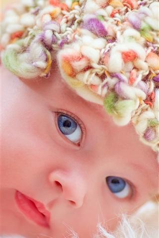 iPhone Hintergrundbilder Nettes Neugeborenes, Baby, Gesicht, Hut