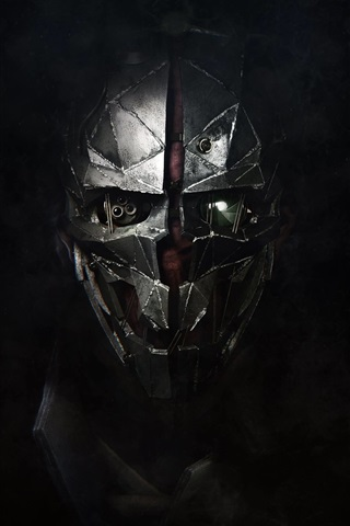 iPhone Wallpaper Dishonored 2, mask, black background
