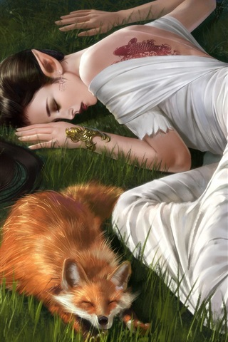 iPhone Wallpaper Fantasy girl and fox sleep in the grass