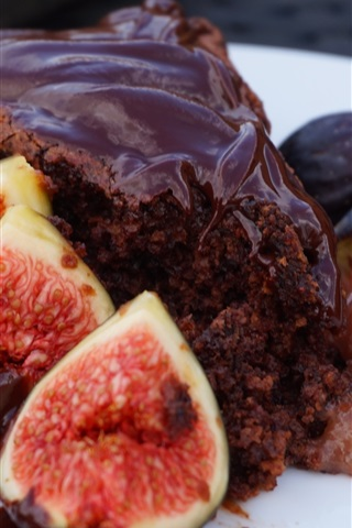 iPhone Wallpaper Figs and chocolate cake