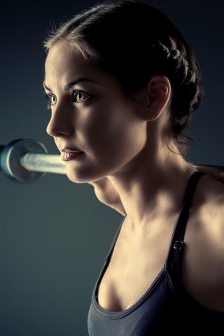 iPhone Wallpaper Fitness girl, black sportswear, training, weight lifting