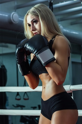 iPhone Wallpaper Fitness girl, blonde, boxing training