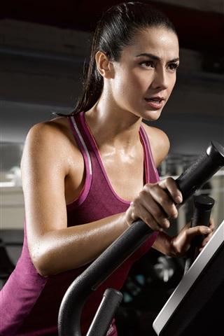 iPhone Wallpaper Fitness girl, purple dress, sweat